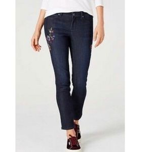 J Jill Embroidered Slim Ankle Jean - 4